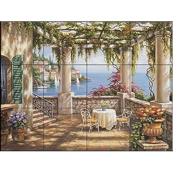 Terrasse M/éditerran/ée Cuisine cr/édence//Salle de bains douche Fresque murale en carrelage par Sung Kim