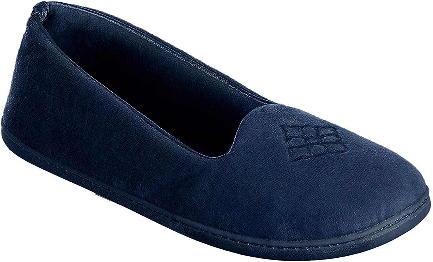 Dearfoams Women's Micro Velour Embroidered Closed Back Slippers, Peacoat, Medium 7-8
