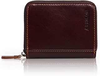 APHISON RFID Genuine Leather Credit Card Holder Wallet for Women Men Coin Purse Zipper Small Wallet Secure Card Case/Gift Box (BROWN)