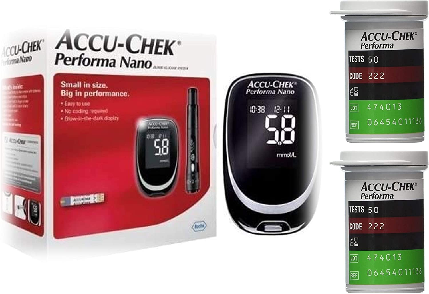 Accu-Chek Performa Nano Blood Glucose Diabetic Meter/Monitor/System with 2x50 Test Strips Diabetic Glucose Sealed