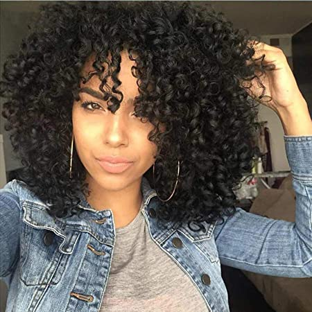 Amazon Com Synthetic Curly Wigs For Black Women Kinky Curly Afrian Full Wigs Black Color 14 Inch With Bangs Free Caps Beauty