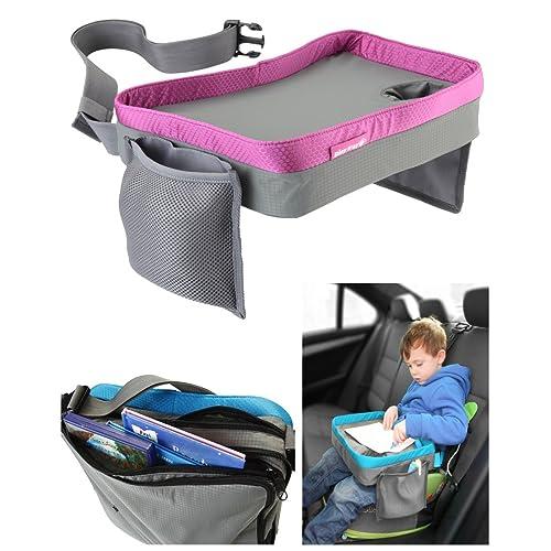 Play Tray (Rose) - Plateau de voyage pour enfant – Pour manger et jouer dans un siège de voiture, une poussette ou un siège d'avion