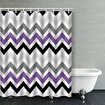 IrYuee Custom Purple Black Gray Chevron Zigzag Pattern Design Shower Curtain 60x72 inches