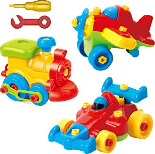 Take Apart Toys Set - (3 Pack) Airplane Toy, Train Toy, Racing Car Toy, For Kids - Stem Learning Educational Construction Tool Engineering set Toys For Boys & Girls Ages 3,4,5,6 Years Old And Up