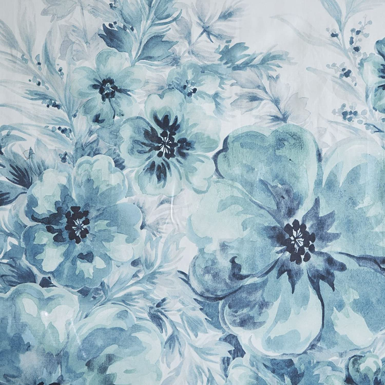 Madison Park Enza Floral 100% Cotton Percale Printed Watercolor Cute Bathroom Shower Curtain, 72X72  Inches, Teal bluee