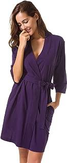 SIORO Women's Kimono Robes Cotton Lightweight Bath Robe Knit Bathrobe Soft Sleepwear V-Neck Ladies Nightwear