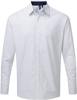 Premier Mens Long Sleeve Denim-Pindot Shirt