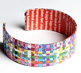 Large woven paper bracelet - FREE SHIPPING - recycled bracelets quilled magazine bangles bangle bracelets Fair trade ethical fun present presents inspiring alternative ideas functional beautiful