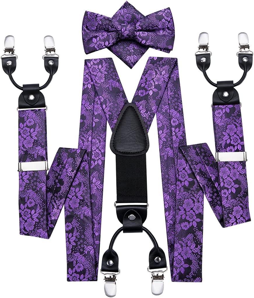 GYZX Men's Bow Tie and Suspenders Set Leather Metal 6 Clips Braces Purple Floral Elastic Wedding Suspender Set (Color : A, Size : Adjustable)