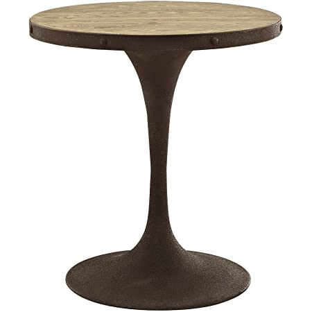 Modway Drive 28 Rustic Modern Farmhouse Kitchen And Dining Room Table With Round Pine Wood Top And Iron Pedestal Base In Brown Tables