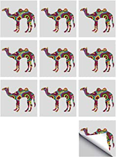 C COABALLA Modern Stylish Ceramic Tile Stickers 10 Pieces,Colorful Featured Camel Figure Abstract Trippy Shapes and Bands Artful Illustration for Kitchen Living Room,7″ L x 7″ W