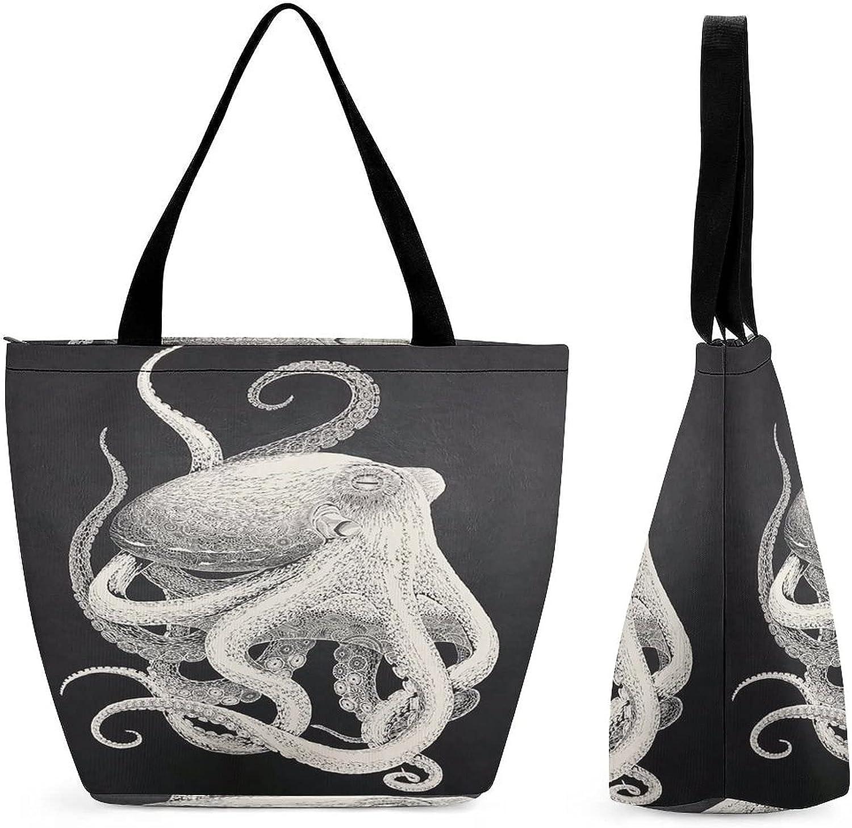 Japanese Art Hand Columbus Mall Draw Octopus Capacity Large Reusable Womens' T overseas