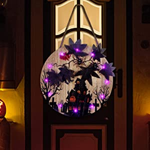 Glory Island Halloween Decorations Hanging Sign, 12 Inch Purple LED Lights Spooky Spider Wooden Wall Plaque Maple Leaves Welcome Signs for Front Door Home Party