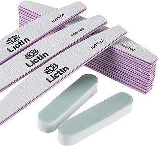 Lictin 12pcs Limas de Uñas Profesionales 100180- Limas de Uñas de Doble Cara DesechableResistentes al Desgaste y Lavable...