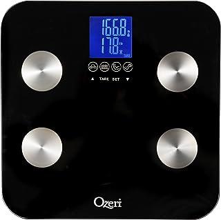 Ozeri táctil 440 lbs Pesa de baño corporal total - Mide peso, grasa, músculo, hueso e hidratación con reconocimiento autom...