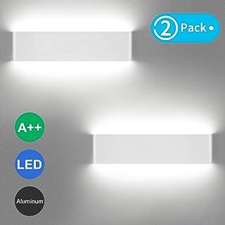 LEDMO Aplique Pared Interior LED 36CM Lámpara de pared Moderna 12W Blanco Perfecto para Salon Dormitorio Sala Pasillo Escalera(2 piezas)
