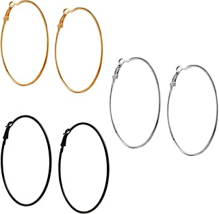 03f13389d FreshVibes Silver Non-Precious Metal Silver Golden and Black Big Round Hoop  Earrings for Women