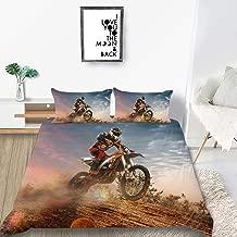 THEE Bed Sets for Boys Dirt Bike Motocross Bedding Duvet Cover Quilt Cover(Full)