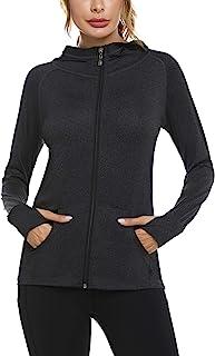 Sykooria Womens Long Sleeve Full Zip Sports Running Jackets Training Lightweight Workout Track Jacket Tops
