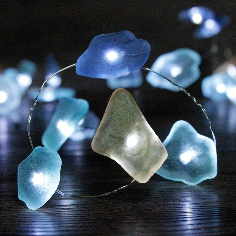 CRYSTAL CLUB Nautical Sea Glass String Lights, 40 LEDs Battery Operated Fairy Lights, Beach Theme Decor with Remote and Timer, Indoor Light for Bedroom, Holiday, Summer Party Decors