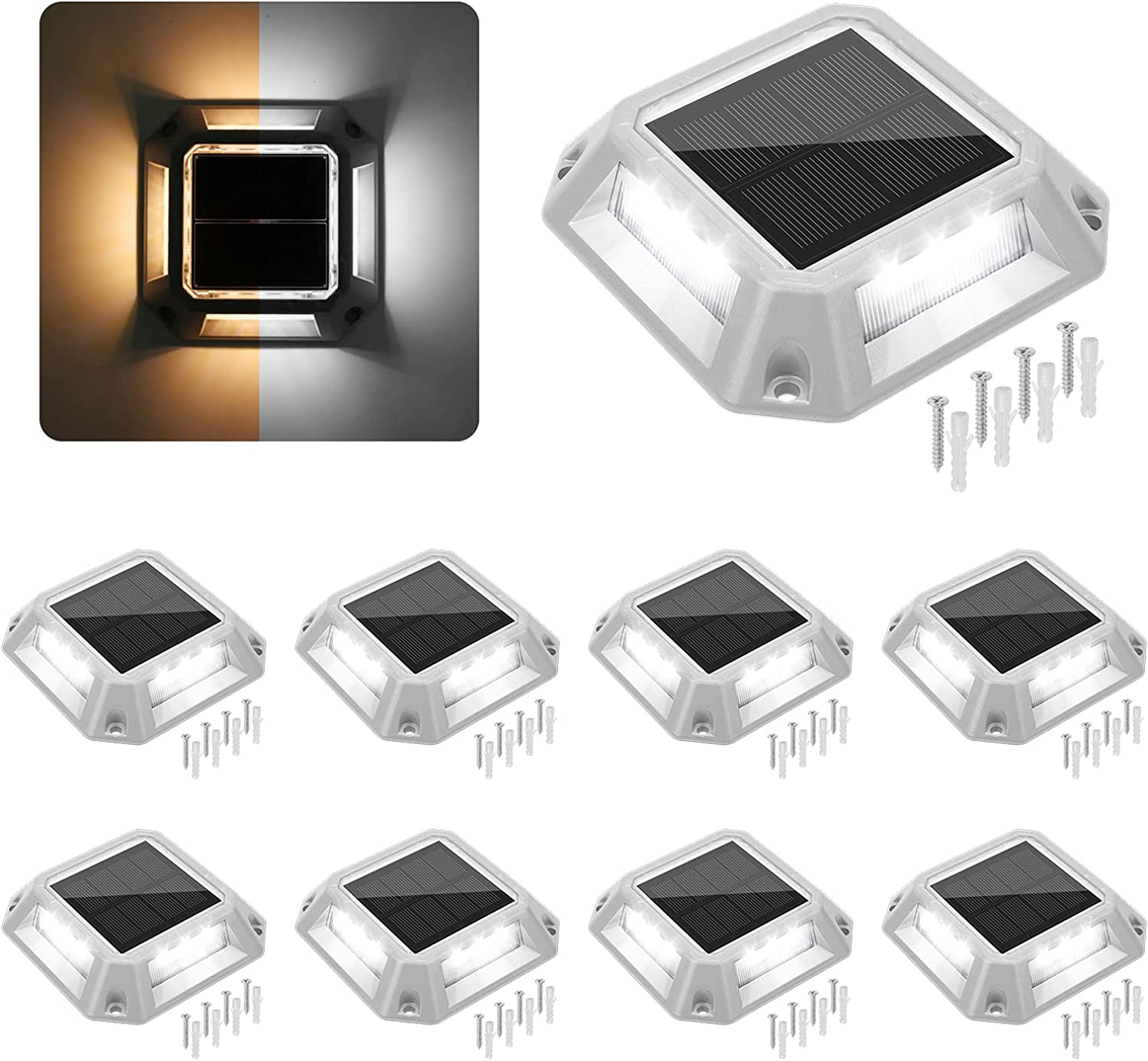 VOLISUN Solar Driveway Lights Dock Deck Light 8-Pack,2 Colors in 1,Wireless Solar Powered 1200mAh Battery,Waterproof Outdoor Warning Step Light for Driveway (2 Colors Lighting,White/Warm White) - -