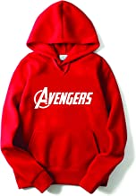 THE SV STYLE Unisex RED Hoodie with White Print: Avenger Full/Printed Red Hoodie/Graphic Printed Hoodie/Hoodie for Men & Women/Warm Hoodie/Unisex Hoodie