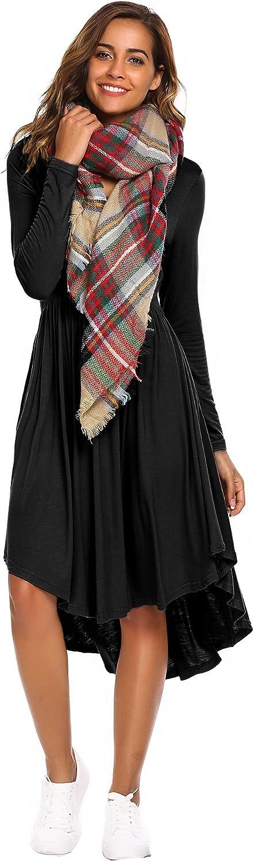 Beyove Women's Long Sleeve High Low Pleated Swing Loose Casual Dress