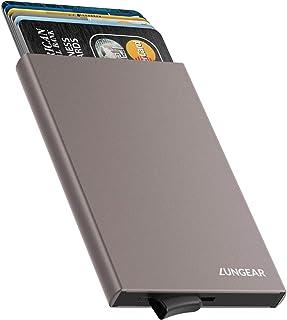 LUNGEAR Credit Card Holder RFID Blocking Slim Metal Card Case Minimalism Front Pocket Pop Up Wallet for Men and Women, Grey