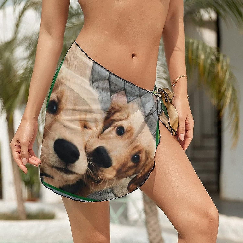 Women's Beach Sarongs Bikini Cover Ups Love Cute Golden Retriever Sheer Swimwear Short Skirt