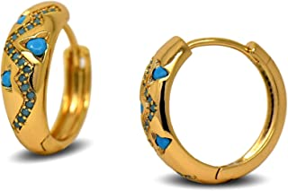 12fe8e617 Blue Diamond Club - 18ct Gold Filled Womens Hoop Earrings with Inlaid  Turquoise Pattern 18K GF