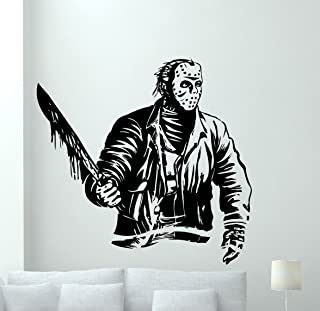 Jason Voorhees Wall Decal Friday The 13 Movie Maniac Vinyl Sticker Nightmare Horror Wall Art Design Housewares Kids Room Bedroom Decor Removable Wall Mural 87zzz