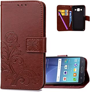 HMTECHUS Galaxy J7 2015 case Embossed Floral Card Slots Magnetic Flip Stand Shockproof PU Leather Wallet Slim Protect Cover for Samsung Galaxy J7 2015 / J7 Neo Lucky Clover:Brown XD