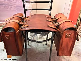 Leather Native 2 X HUGE Motorcycle Side Pouch Brown Leather Side Pouch Classic Saddlebags Saddle Panniers (2 Bags) Summer Sale!