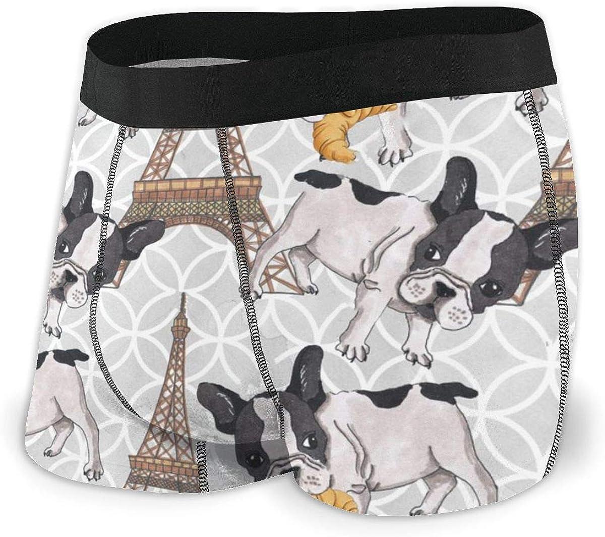 Randolph Wordsworth Mens Boxer Briefs French Bulldog Eiffel Tower Boys Trunks Underwear Short Leg Breathable Man