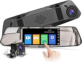 【2021 Nouvelle Version】CHORTAU Dashcam Voiture Rétroviseur Écran Tactile de 4,8 Pouces Full HD 1080P, Caméra de Voiture Gr...