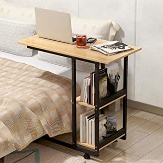 N/Z Daily Equipment Over Bed Table C Side Rolling Table with Lockable Wheels Medical Portable Notebook Laptop Desk 2 Level...