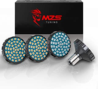 MZS 2' Front Red 1157 Turn Signal LED Bulb + Rear Amber 1157 Turn Signal w/2835 Chips Bullet Style All-in-One Running Light Kit Compatible Motorcycles(Pack of 4)