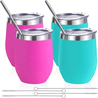 Zonegrace 4 pack 12 oz Stainless Steel Stemless Wine Glass Tumbler,Double Wall Vacuum Insulated (Teal & Magenta 4 pack) Wine Tumbler with Lids for Coffee, Wine, Cocktails, Including 4 Straws
