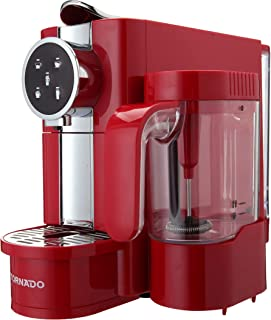 Tornado TCMN-C65R Capsules Coffee Machine with Milk Frother - Red