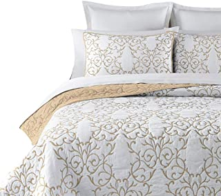 mixinni Reversible 100% Cotton 3-Piece Beige Embroidery Pattern Elegant Quilt Set with Embroidered Decorative Shams Soft Bedspread&Coverlet Set-King