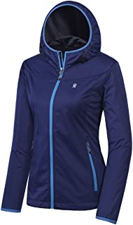Women's Lightweight Hooded Softshell Jacket for Travel Hiking Running, Windproof, Water Repellent