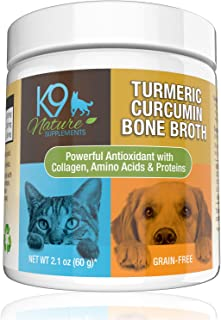 K9 Nature Supplements Turmeric Curcumin Bone Broth for Dogs Grain Free Anti Inflammatory Collagen Dog Tumeric Powder with Organic Coconut Milk Made in USA