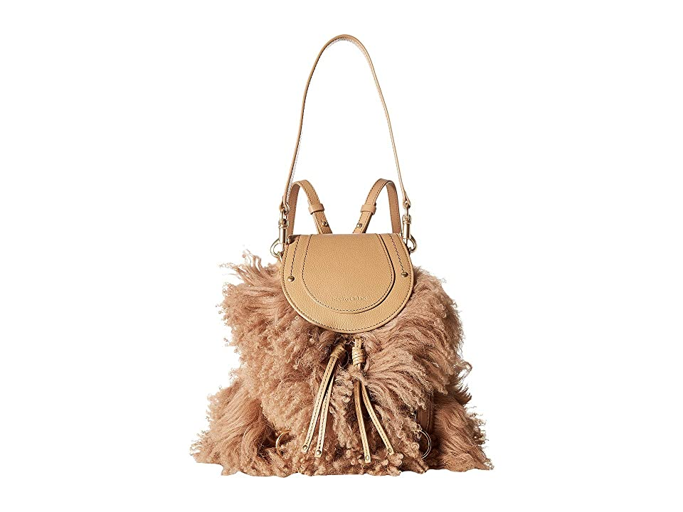 See by Chloe Small Olga Backpack with Shearling (Softy Brown) Backpack Bags
