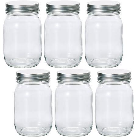 アデリア 保存瓶 ガラス クリア 475ml 銀キャップ保存びん 6個セット 日本製 M6579