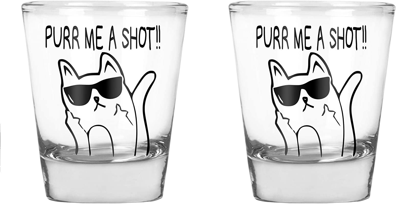 CBTwear Purr Me A Shot Funny Cat Gifts Cat Shot Glass Funny Middle Finger Cat Humor 1 75 OZ Shot Glass 2