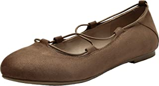 Women's Wide Width Flat Shoes - Lace up Comfortable Round Toe Ballet Flats. Brown Size: 11.5 XW US