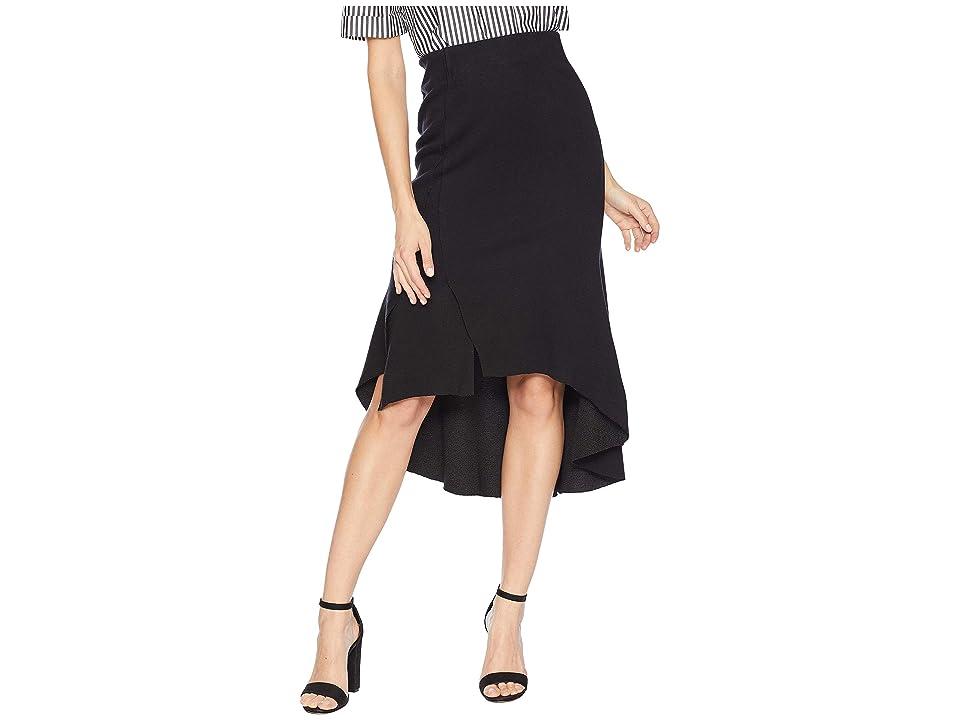 MOON RIVER High-Low Ruffle Skirt (Black) Women