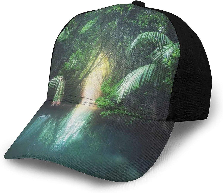Unisex Baseball Cap Fits Men Women Washed Denim Adjustable Dad Hat for Adult,Tropical Lake Mangrove Rainforest Pathway Through Lush Sri Lanka Travel Destination