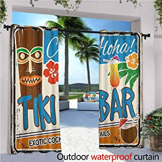 Jktown Tiki Bar Decor Outdoor Grommet Top Curtain Panel Rusty Vintage Sign Aloha Exotic Cocktails Coconut Drink Antique Nostalgic for Patio/Front Porch 72x84 INCH,Multicolor