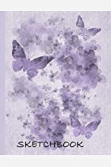 """Sketchbook: Beautiful Purple Hyrrangea and Butterfly Sketchbook: Perfect for any Adult or Child who loves to draw. 100+ pages of 8.5'x11"""" Blank Paper for drawing, doodling or sketching Paperback"""
